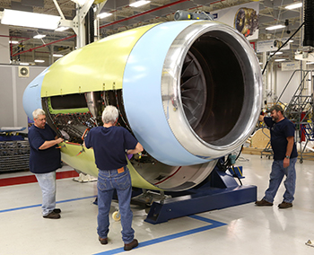 The initial Passport jet engine for Bombardier's no.1 Global 7000 flight test vehicle is equipped with its Nexcelle nacelle at the GE Aviation Peebles Test Operation in Peebles, Ohio.