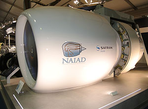 Features of the one-piece NAIAD nacelle element includes an electric anti-ice inlet, advanced acoustic treatment on interior services and a forward translation for easier engine access.