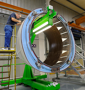 Nexcelle's first O-Duct nacelle component to equip CFM International LEAP-1C engines on COMAC's C919 jetliner is readied for shipment from Aircelle.