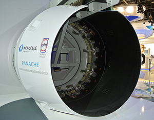 The PANACHE thrust reverser is displayed on Safran's exhibit stand at the Paris Air Show.